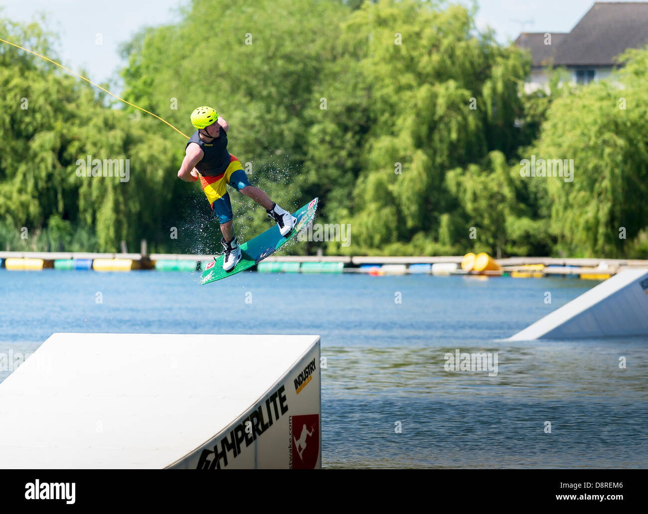 Basildon, Essex, UK. 3rd June 2013. Members of the public took the opportunity to show off their wakeboarding skills - Stock Image