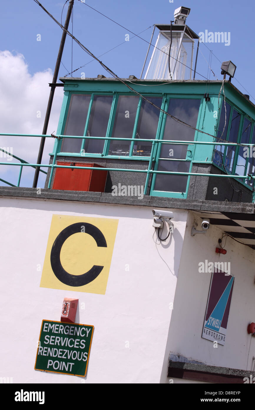 Airfield air traffic control tower at Sywell airport Northampton England UK - Stock Image
