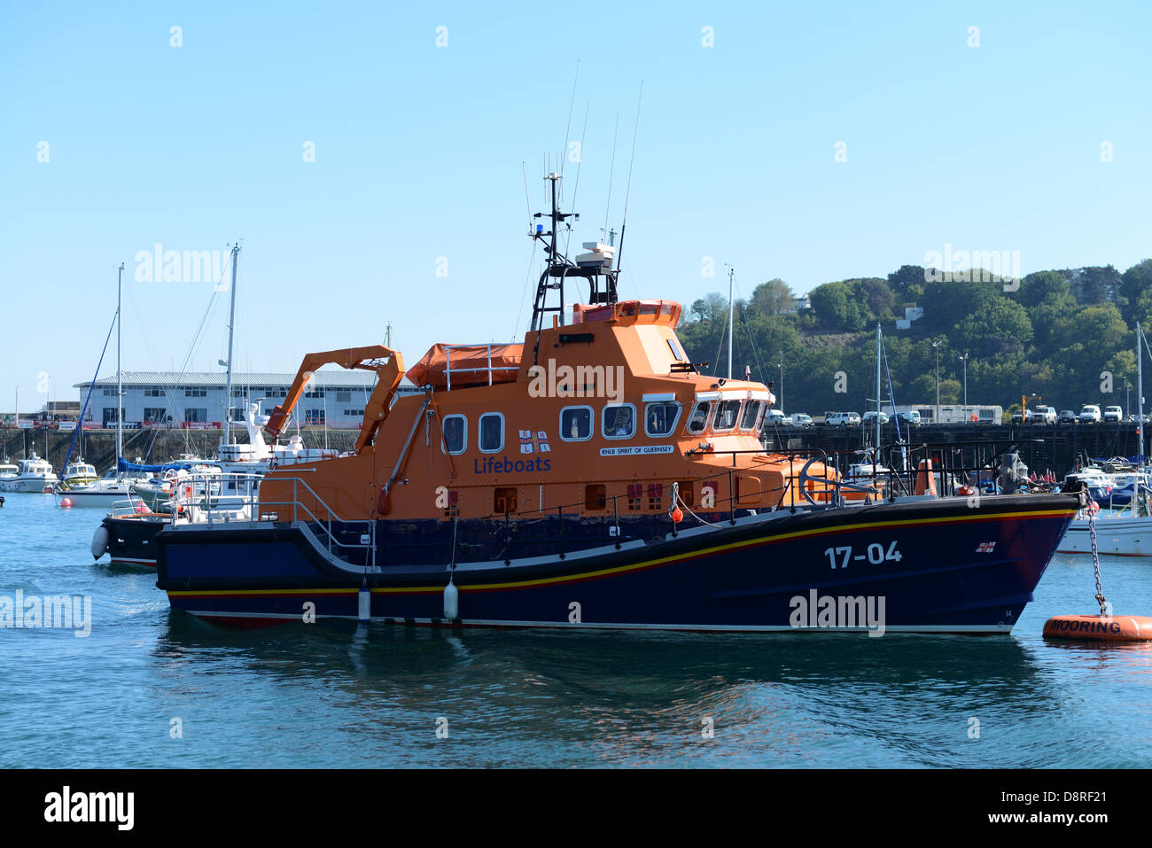 Guernsey lifeboat in St Peter Port harbour, Guernsey - Stock Image