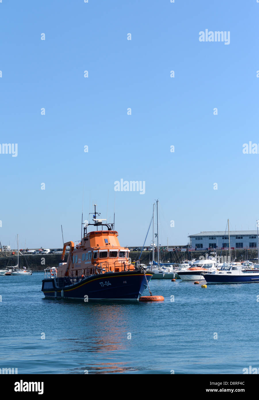 Guernsey Lifeboat in St Peter Port harbour, Guernsey, Channel Islands, GB - Stock Image