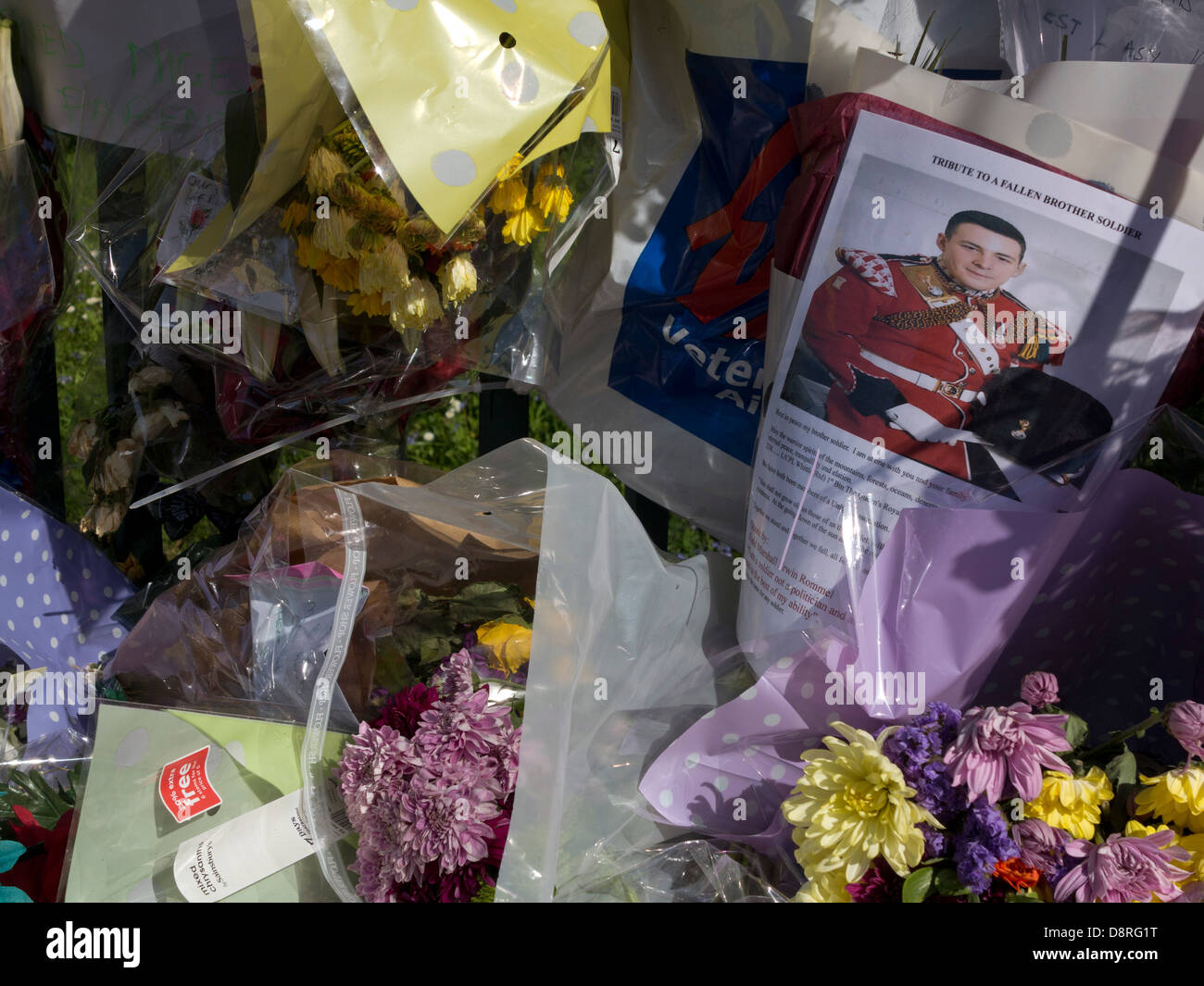 Floral tributes to Drummer Lee Rigby, killed outside Woolwich Barracks in London on May 22  - Stock Image
