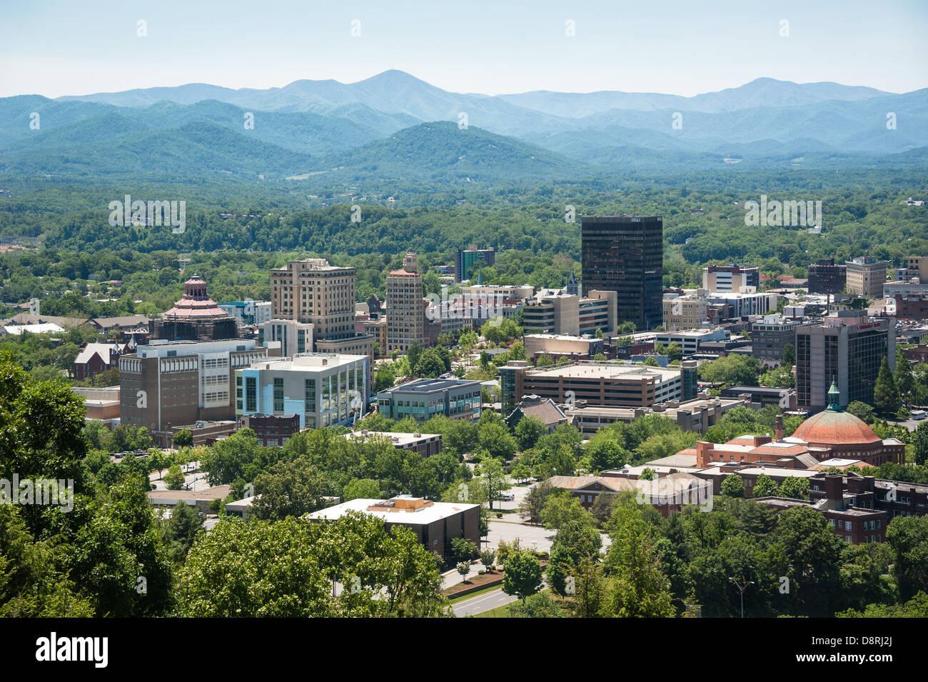 Asheville, North Carolina nestled within the beautiful Blue Ridge mountains. Stock Photo