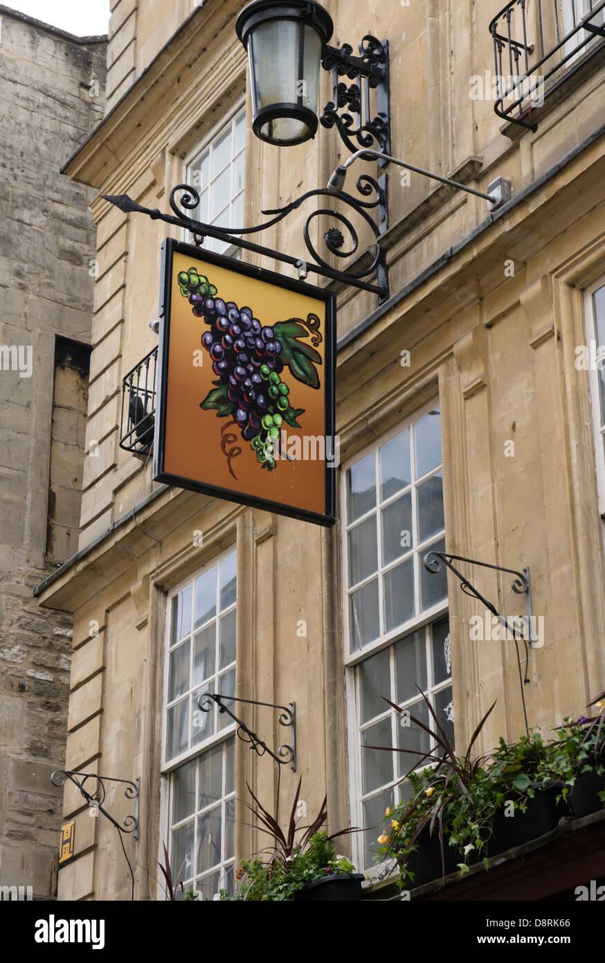 The Grapes Pub, Bath, a Georgian city in Somerset England UK - Stock Image