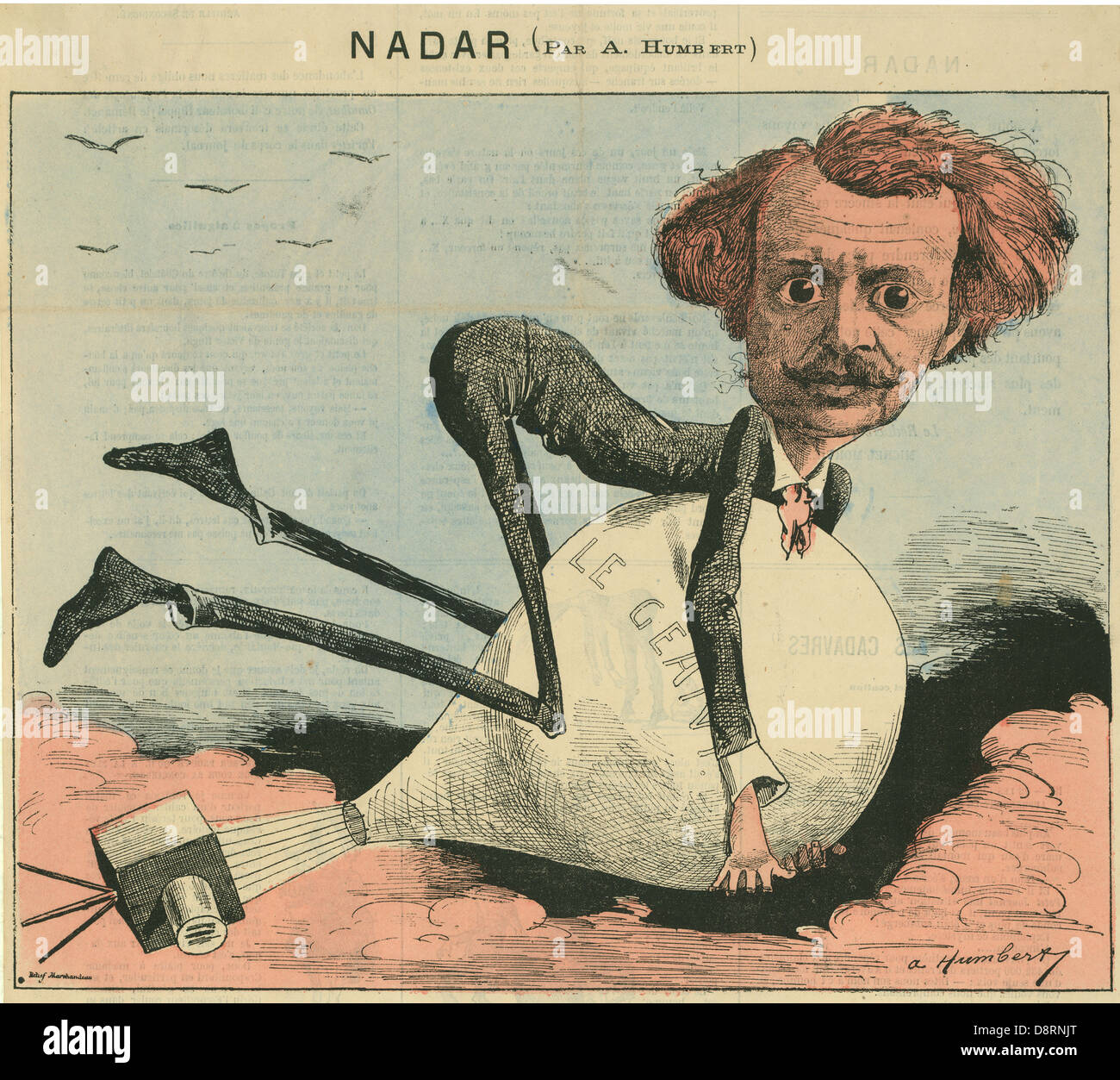 Albert Humbert 1863 French caricature of photographer and balloonist Nadar - Stock Image