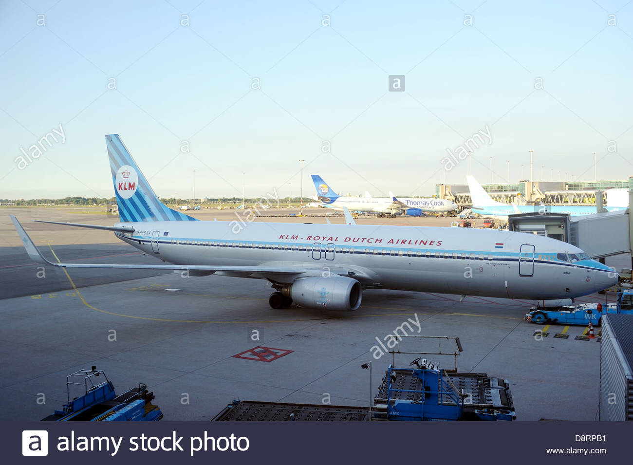 Amsterdam The Netherlands KLM Boeing 737 PH-BXA in retro livery. - Stock Image