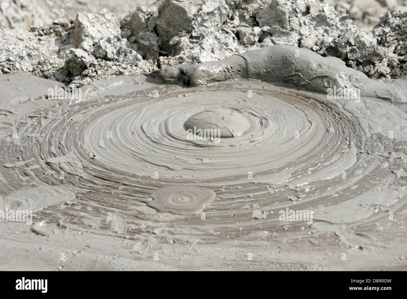 Mud volcanoes in Qobustan near Baku Azerbaijan - Stock Image