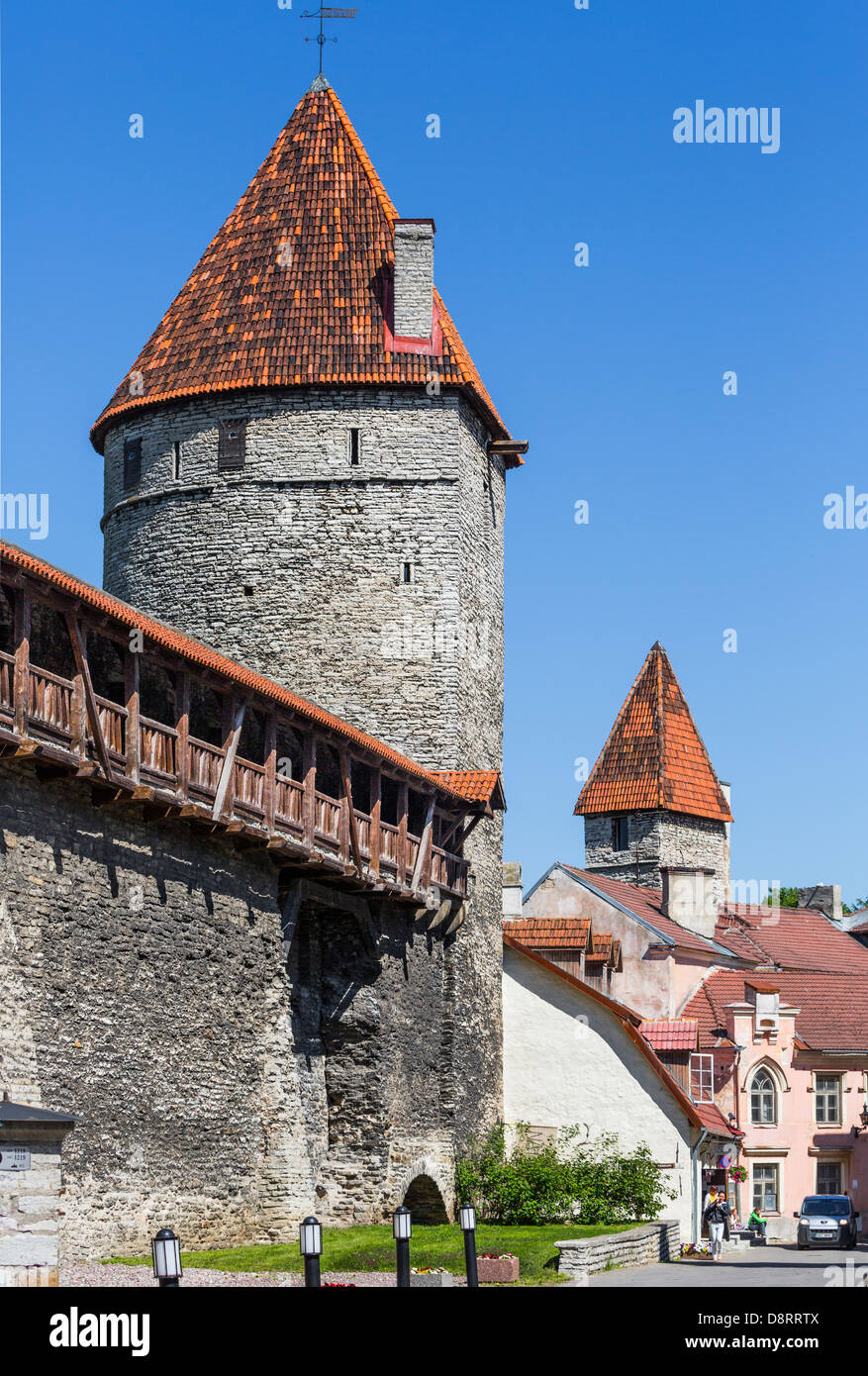 Tallinn medieval town city wall, watch tower towers - Stock Image