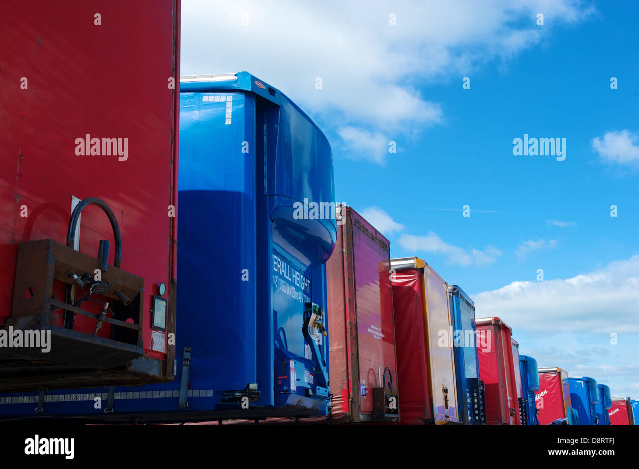 Lorry trailers stand in a trailer park. - Stock Image