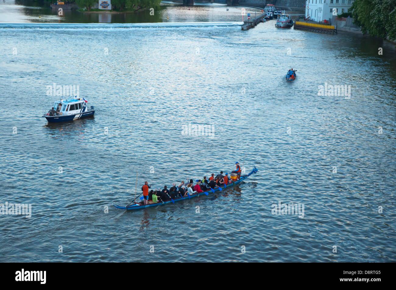 Regatta during Svatojanske Slavnosti Navalis religious festival in Vltava river central Prague city Czech Republic - Stock Image