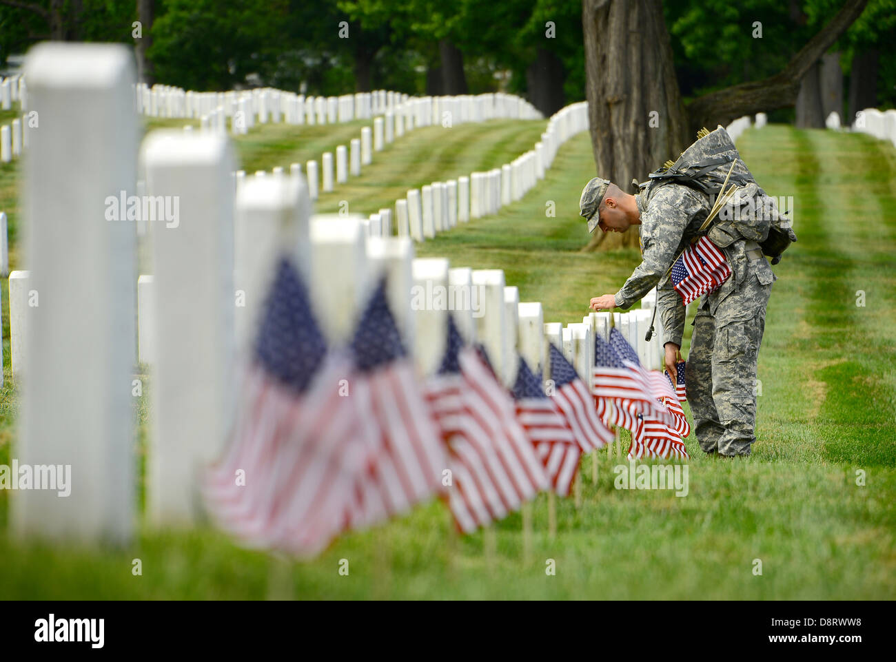 A US soldier with The Old Guard places an American flag in front of a grave stone in Arlington National Cemetery - Stock Image
