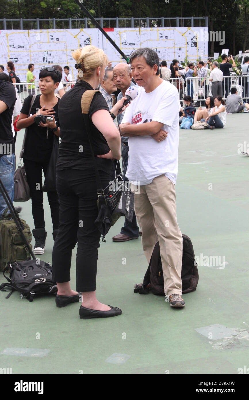 Hong Kong. 4th June 2013. One of the organisers of the annual June 4 Tiananmen Square Massacre Memorial protest - Stock Image
