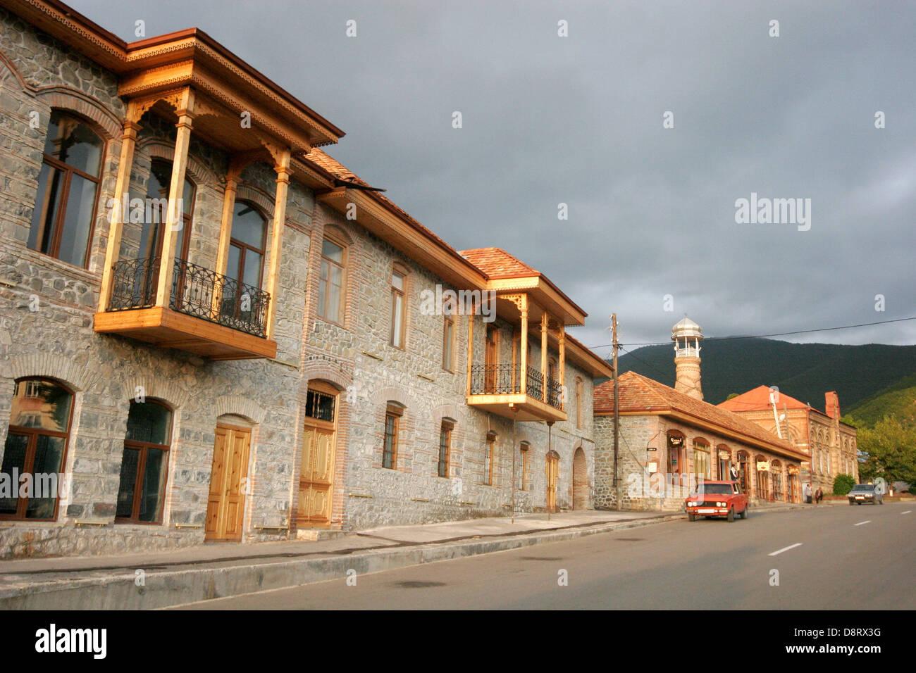 Street scene in Sheki, Azerbaijan, Caucasus region - Stock Image