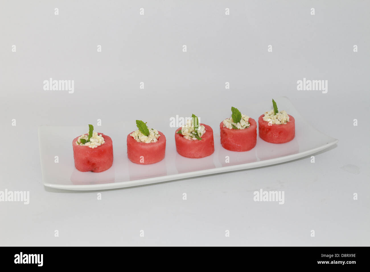 Water melon cups with feta cheese and mint - Stock Image