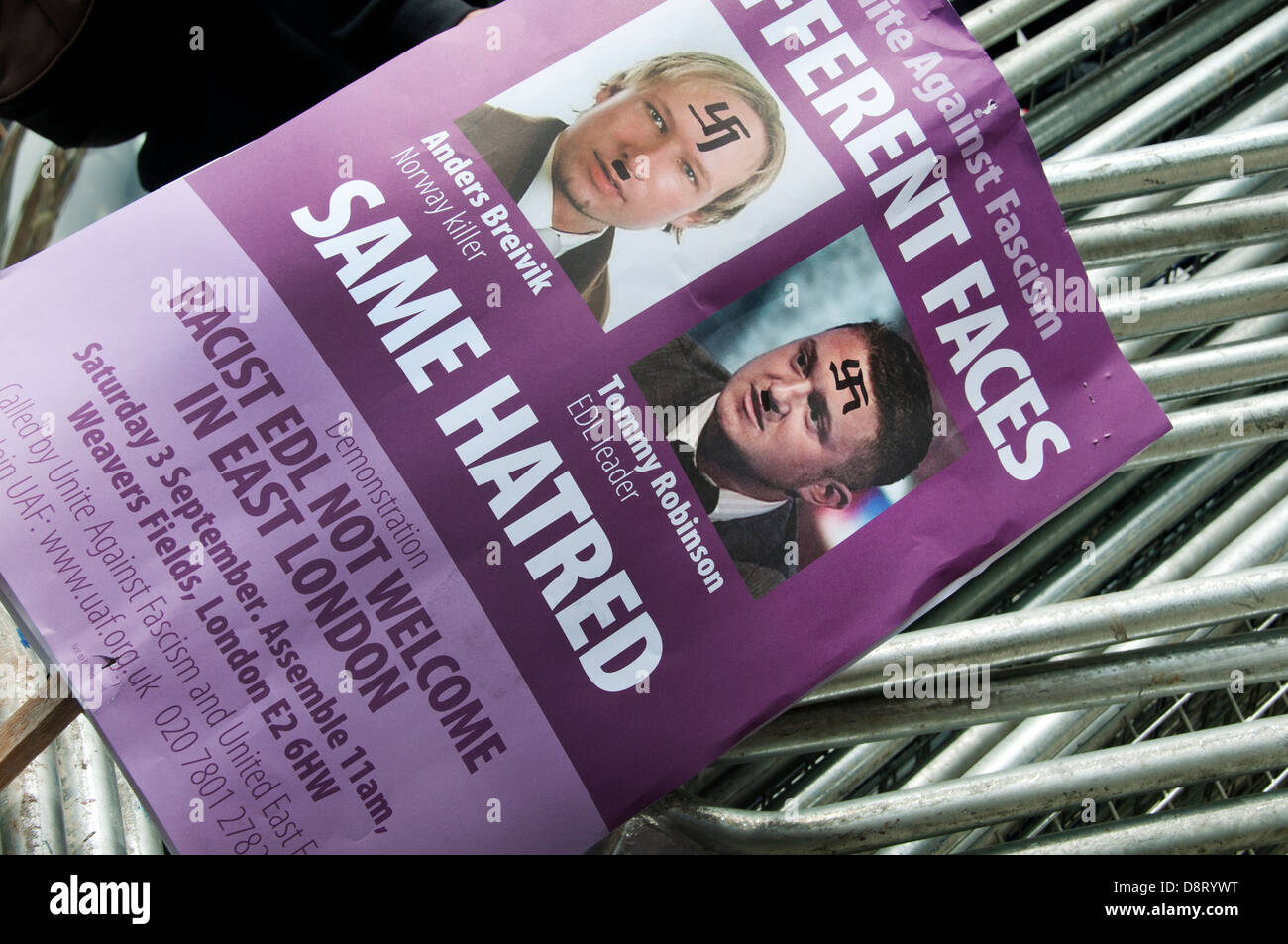 Poster for an anti racist rally to be held in September, with swastikas added to photos of Breivik and Tommy Robinson - Stock Image