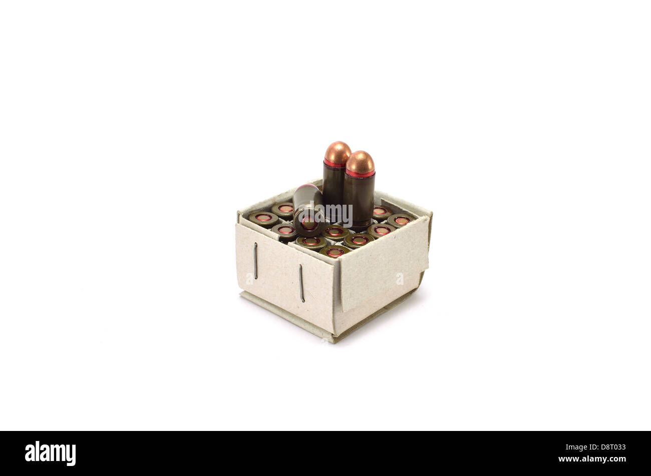 packaging with cartridges on a white background - Stock Image