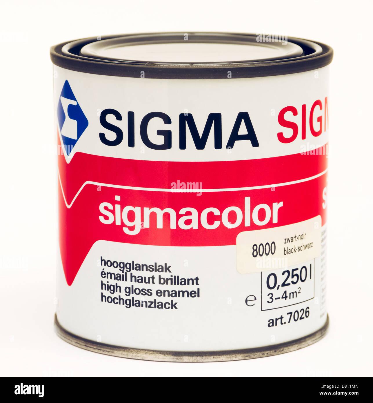 Sigma Paint Tin on White Stock Photo