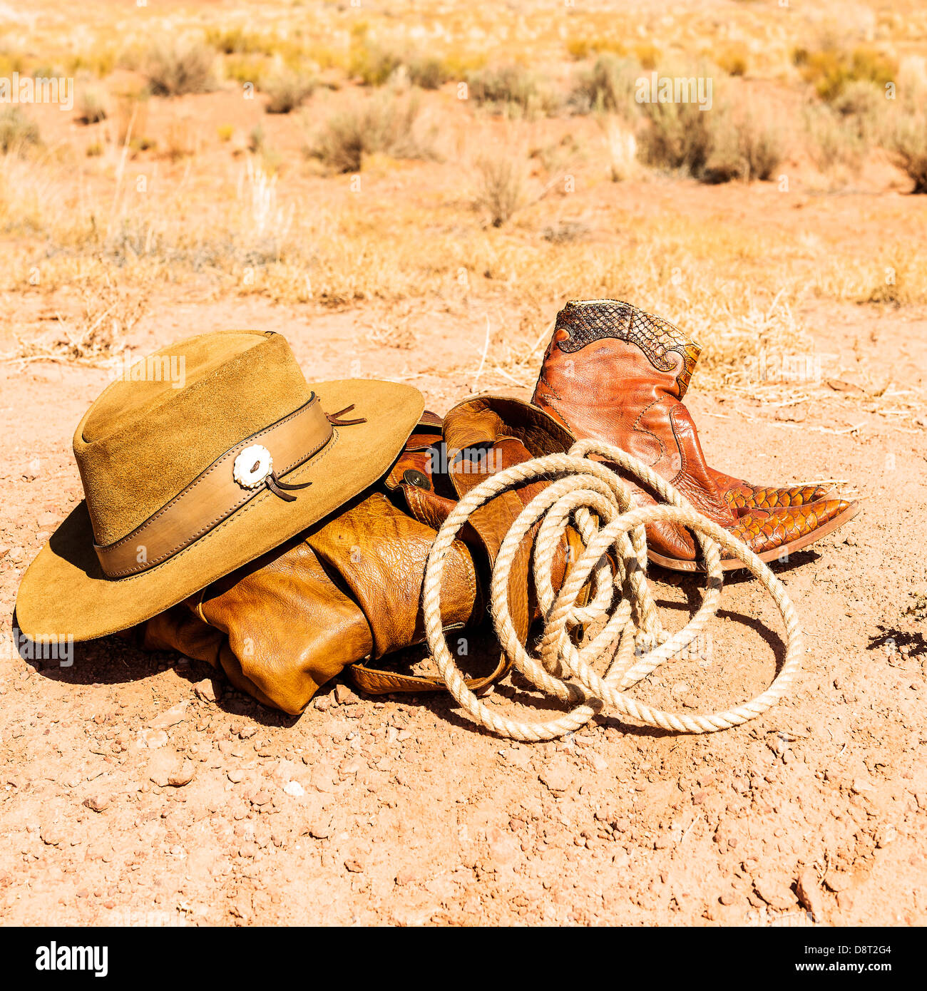 rancher objects in the middle of the southwest desert, USA - Stock Image