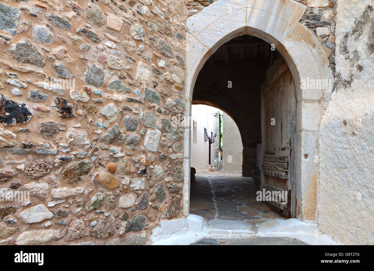 The medieval city of Naxos island in Greece - Stock Image