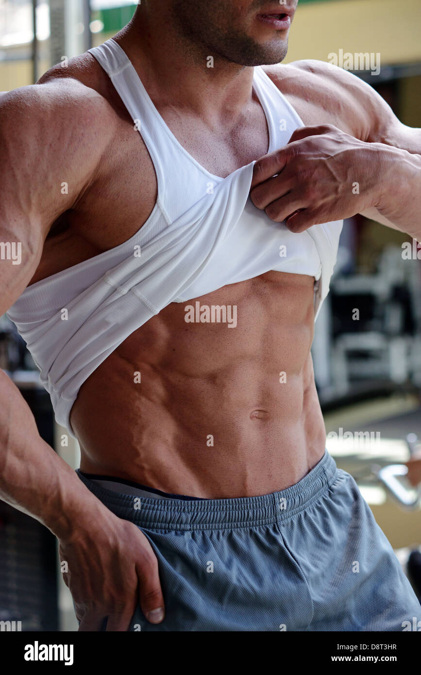 abdominal muscles man - Stock Image