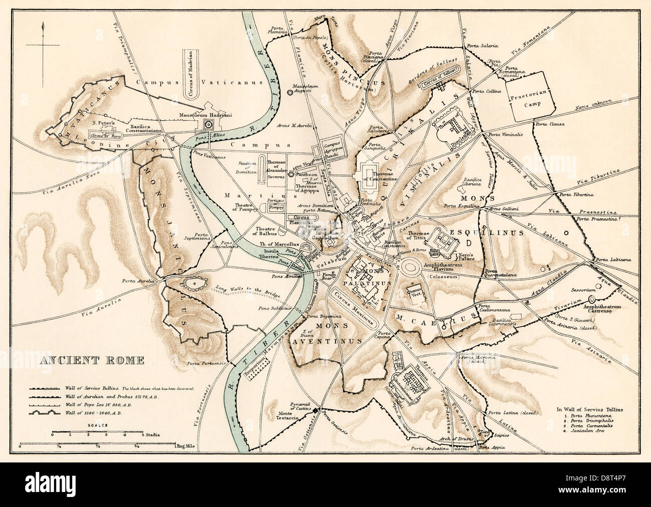 City plan of ancient Rome. Color lithograph - Stock Image