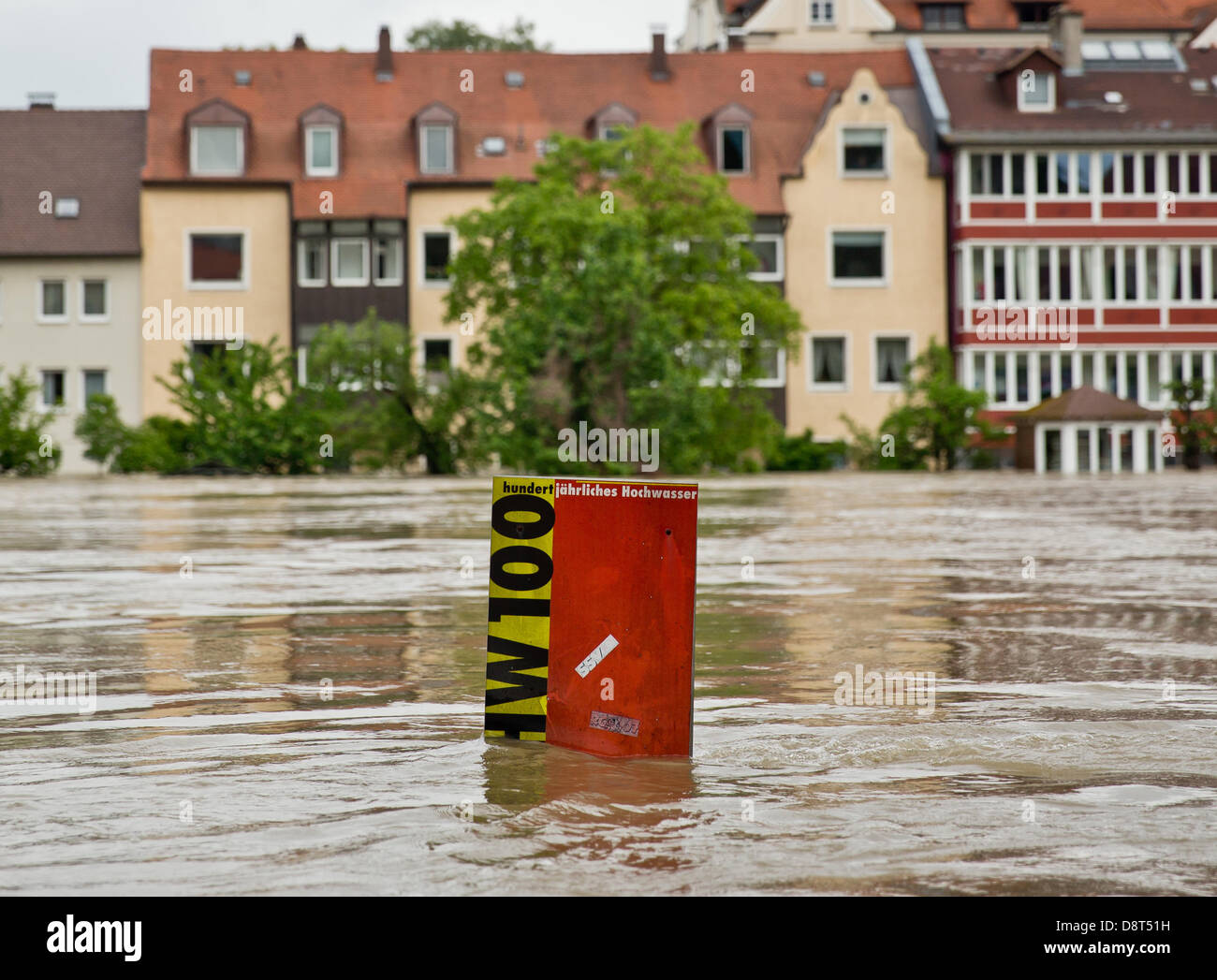 Regensburg, Germany. 4th June 2013. The flooded Danube is pictured with the flood of the century mark in Regensburg,Germany, - Stock Image