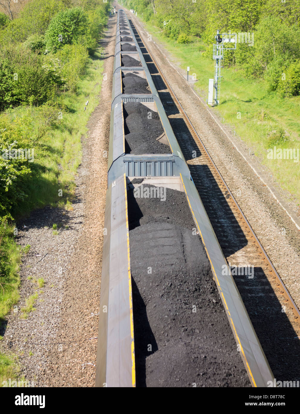 Freight train on the east coast line carrying coal from The Port of Tyne to Drax power station in North Yorkshire, - Stock Image