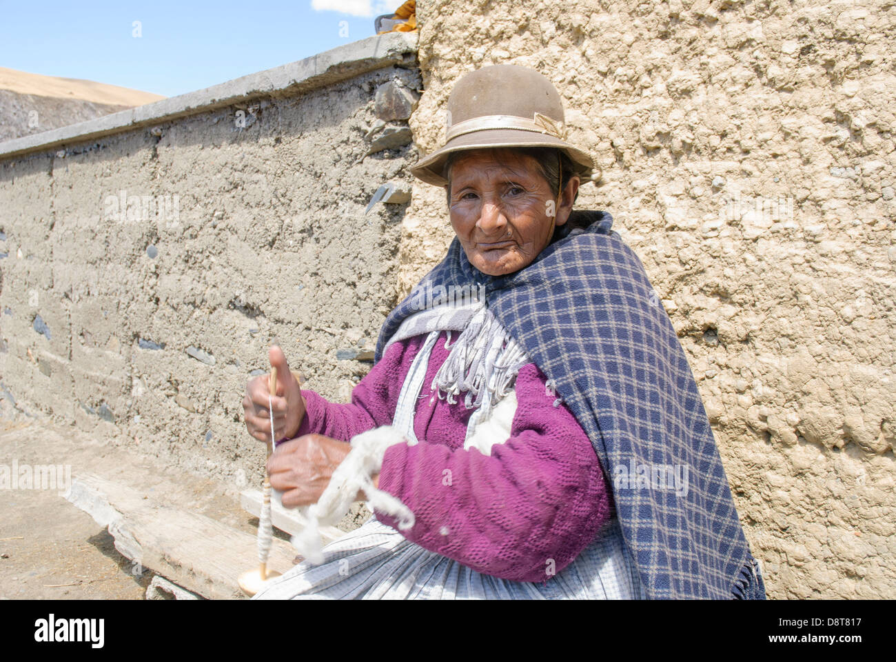 Old aymara woman in the Cordillera Real - Stock Image