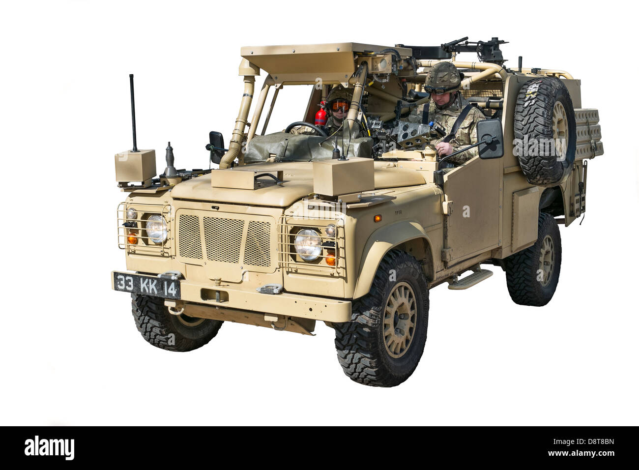 A cut out of a UK Military MWP Land Rover manned by two British Army soldiers - Stock Image