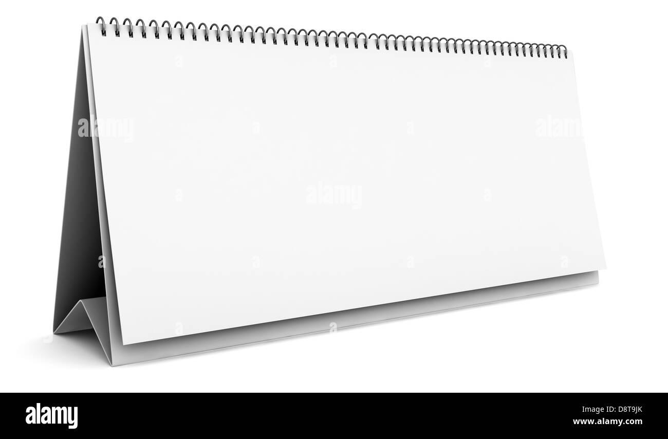 blank desktop calendar isolated on white - Stock Image