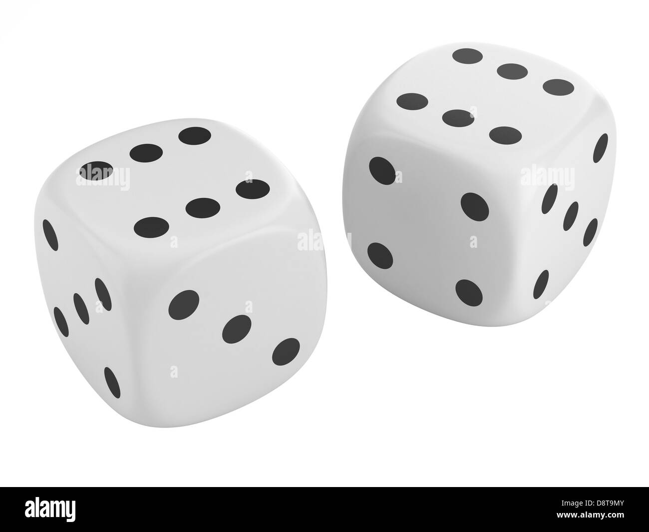 two dice isolated on white background - Stock Image