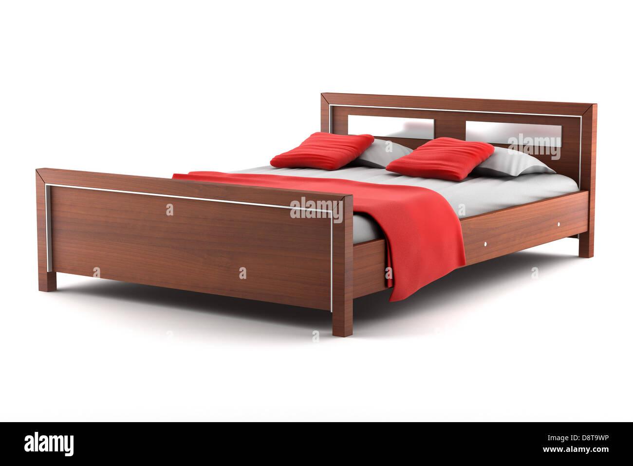 bed isolated on white background - Stock Image