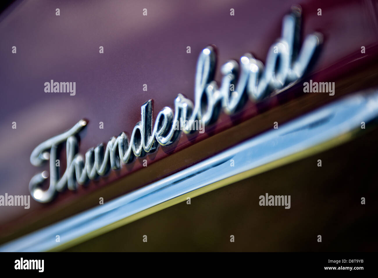 The Thunderbird logo on a 1960's Ford Thunderbird - Stock Image