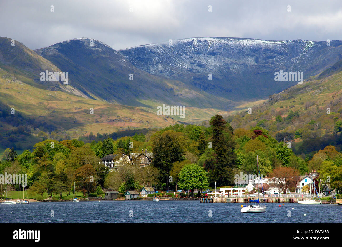 Snow in May Ambleside Lake District UK Lake Windermere - Stock Image