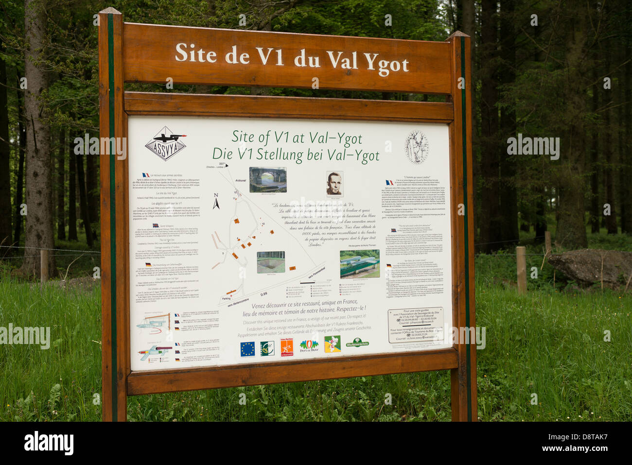 The sign at Ardouval ww2 V1 launch site Normandy, France - Stock Image