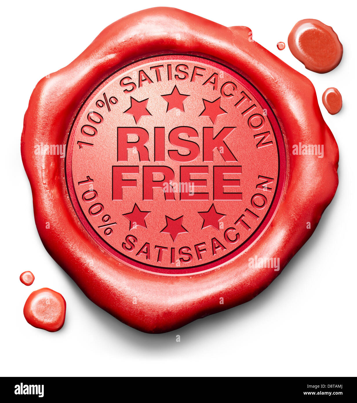 risk free 100% satisfaction product quality control label red wax seal stamp - Stock Image