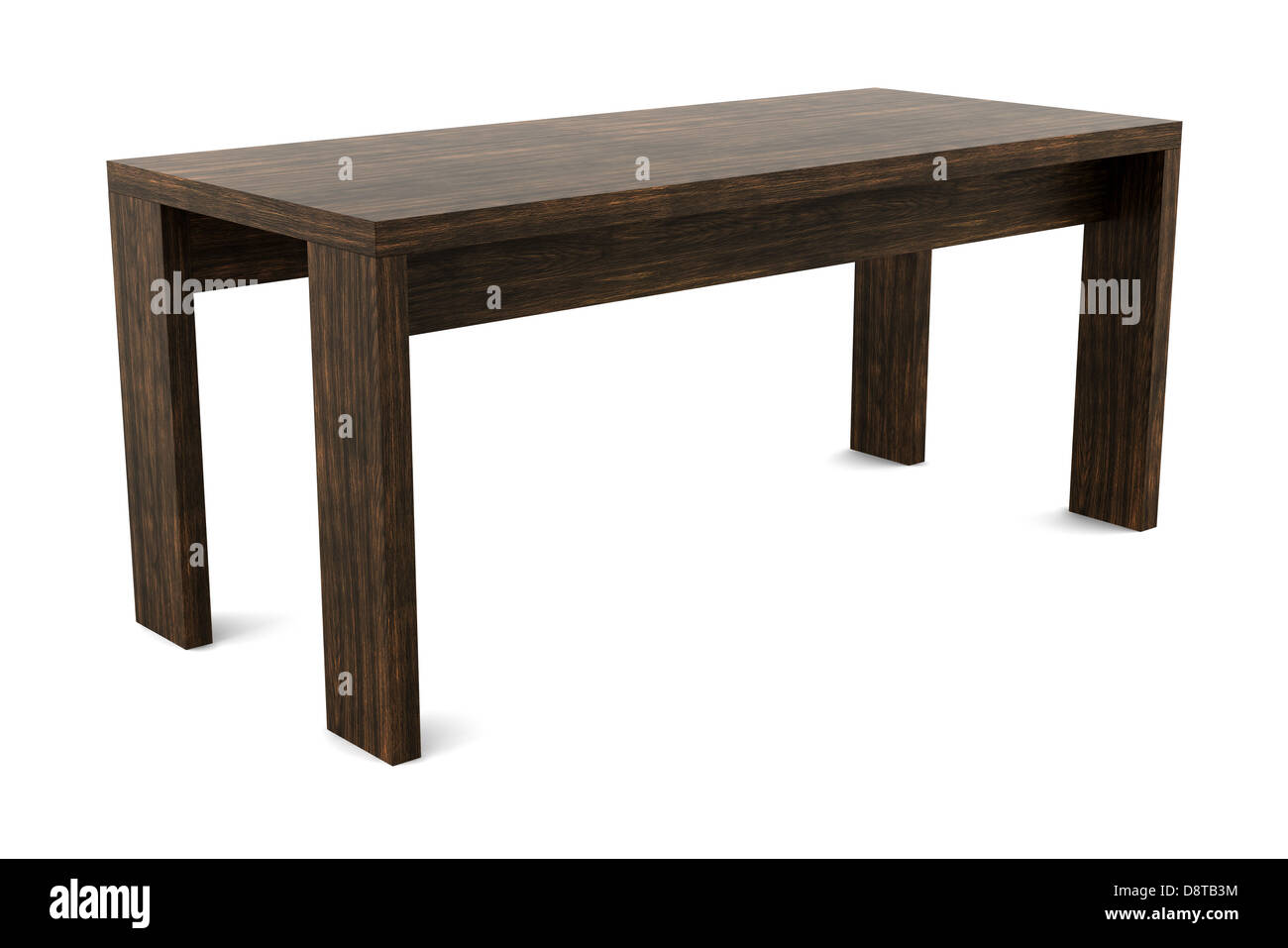 modern brown wooden table isolated on white - Stock Image