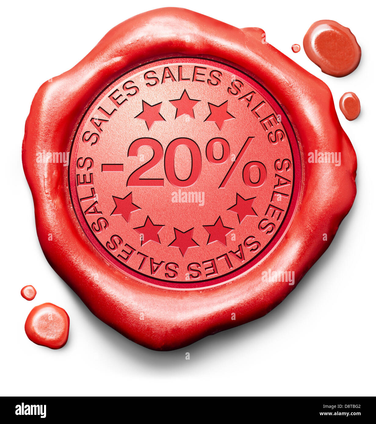 20% off sales summer or winter reduction extra low price buy for bargain limited offer icon red wax seal stamp - Stock Image