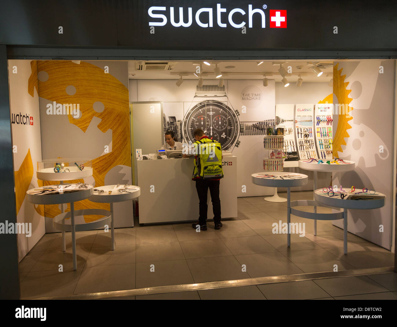 Swatch shop Fiumicino Airport, Rome, Italy - Stock Image