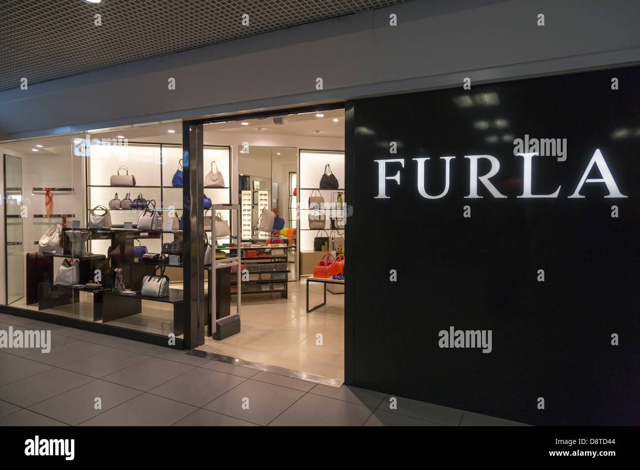 Furla shop Fiumicino Airport, Rome, Italy - Stock Image