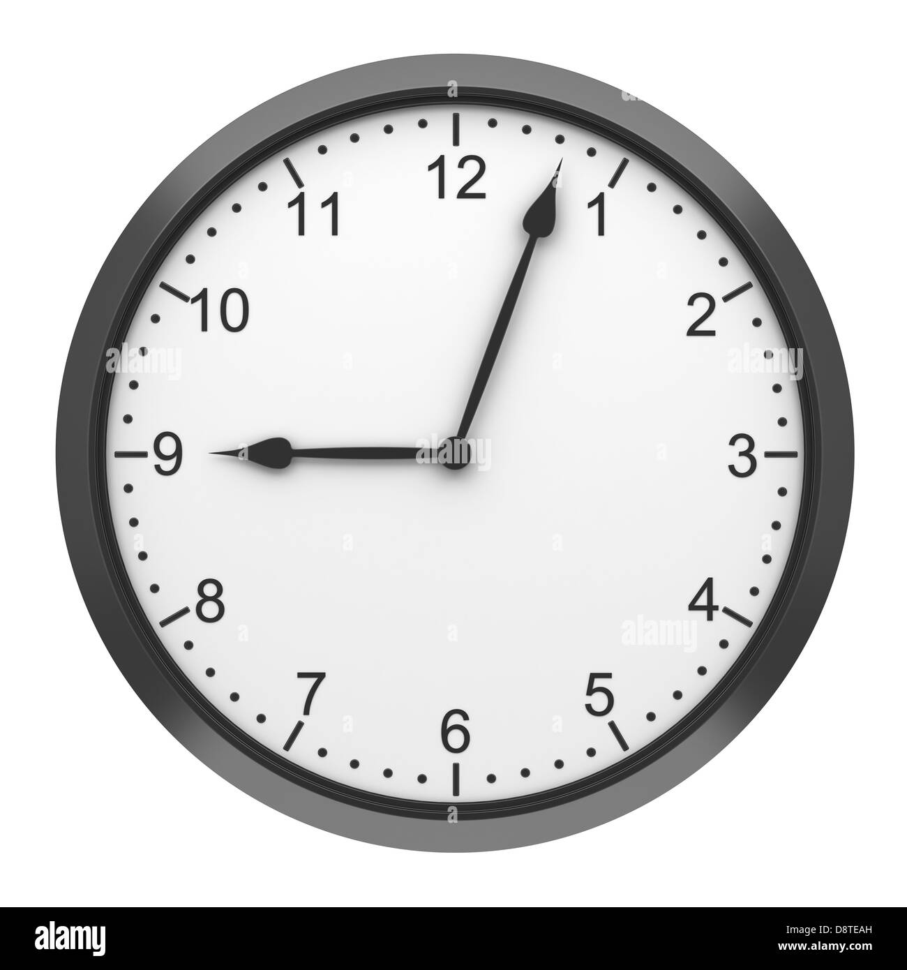 black round wall clock isolated on white - Stock Image