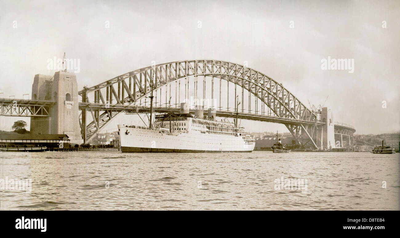 The liner 'Strathnaver' on maiden voyage - Stock Image