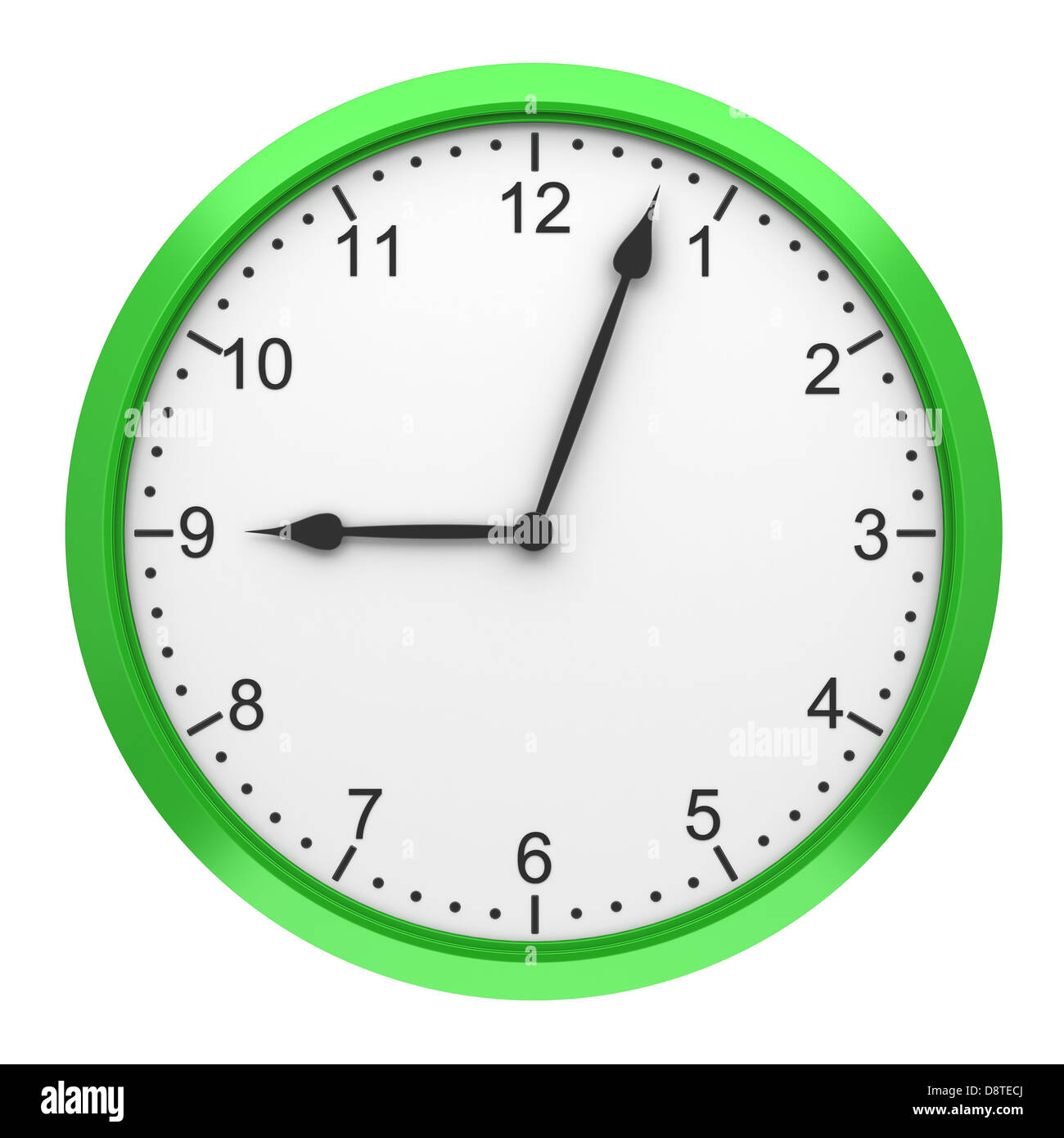 green round wall clock isolated on white - Stock Image
