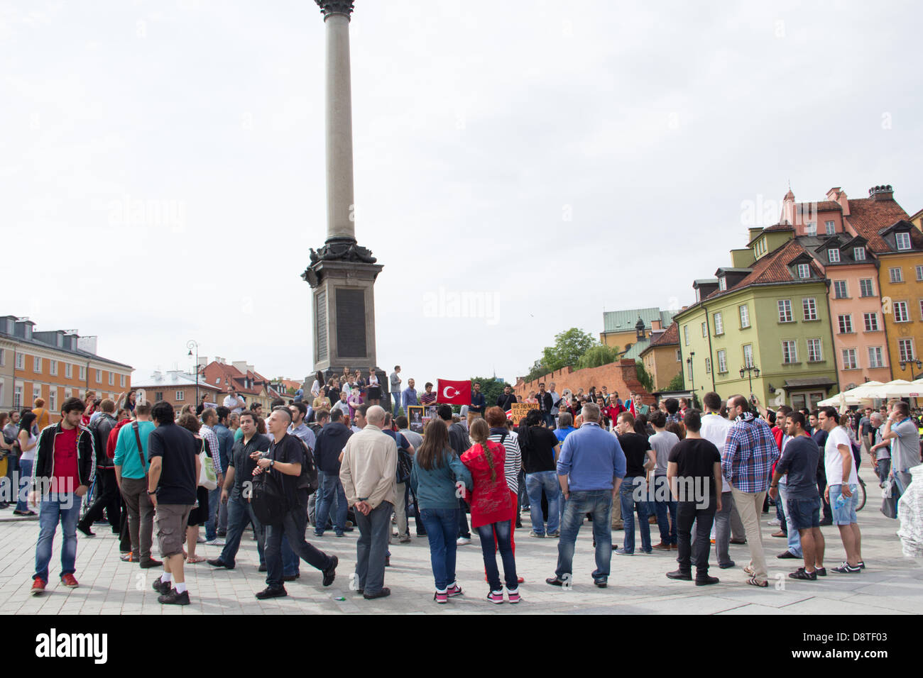 Warsaw, Poland, 2nd June, 2013. Demonstration of Turkish citizens against the policies of the Turkish government. - Stock Image