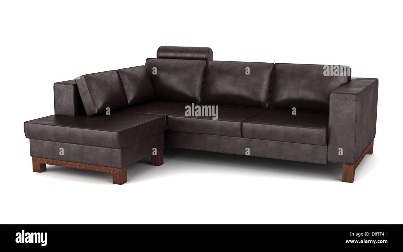 Marvelous Modern Brown Leather Couch Isolated On White Stock Photo Machost Co Dining Chair Design Ideas Machostcouk