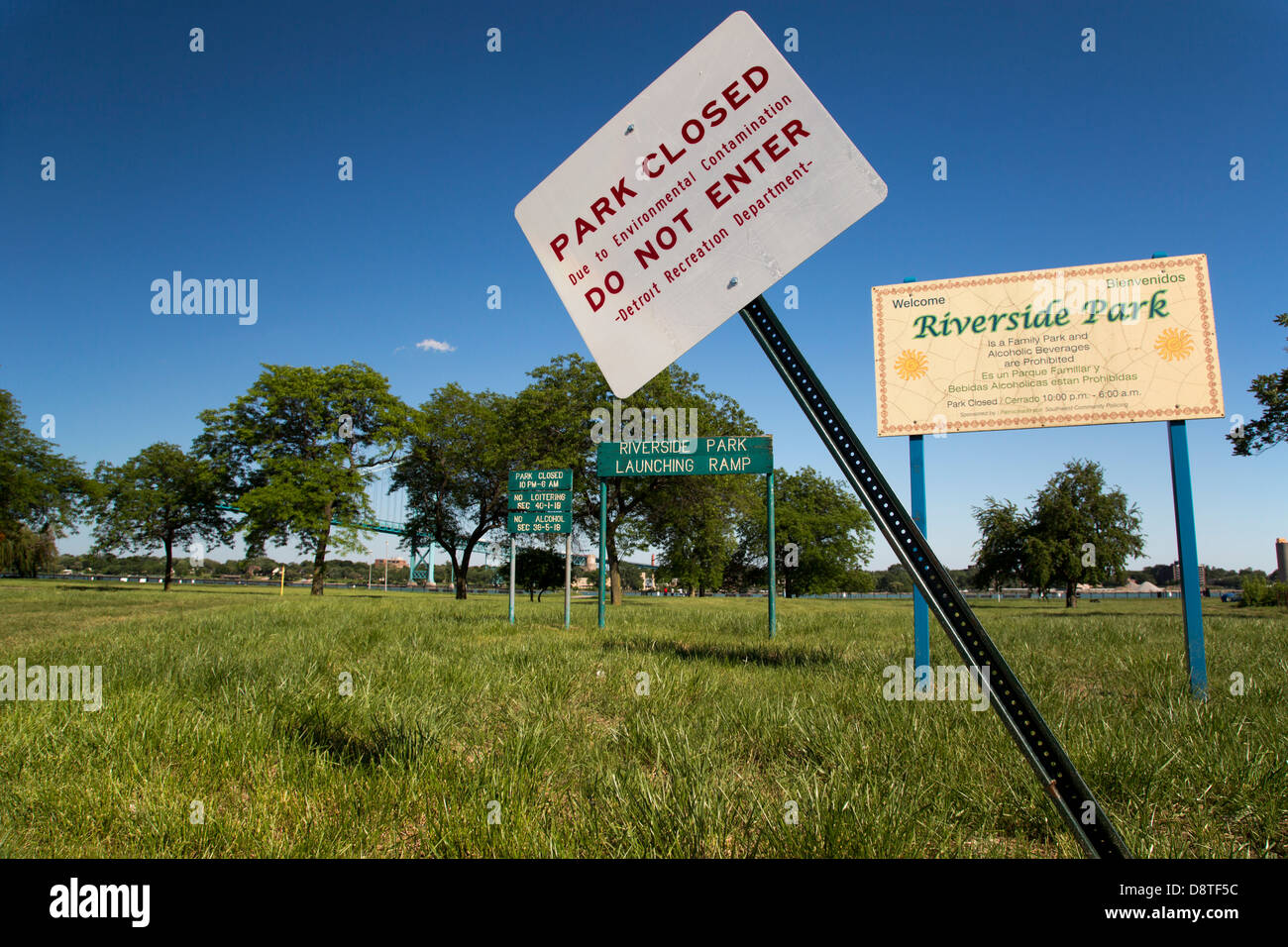 City Park Closed Due to Environmental Contamination - Stock Image