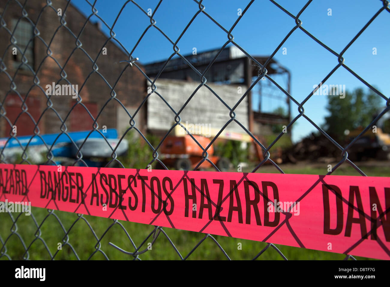 Asbestos Hazard at Old Factory - Stock Image