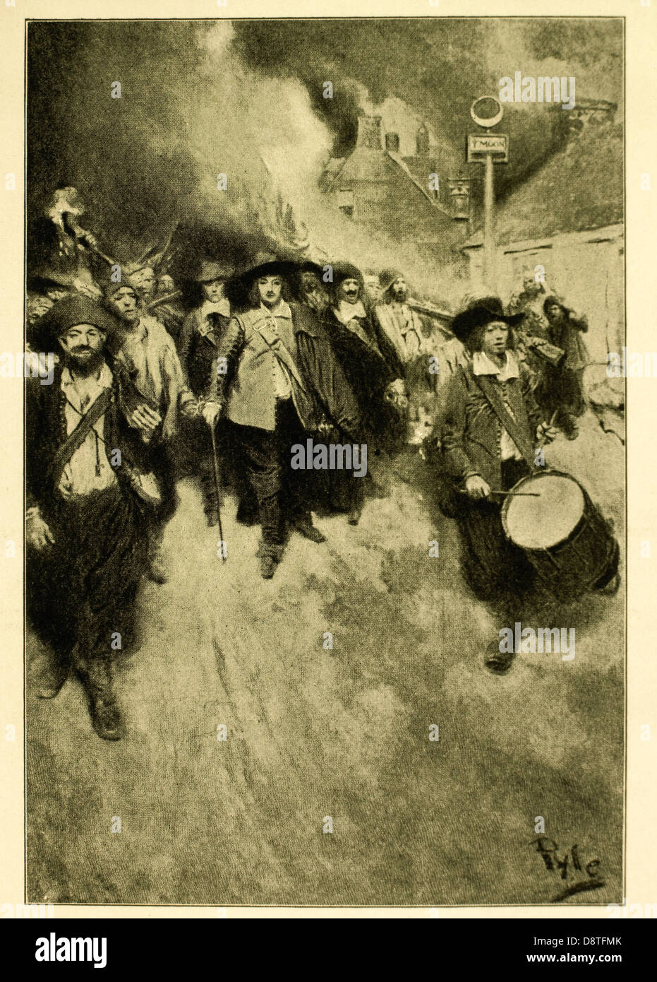 The Burning of Jamestown by Howard Pyle, 1905, Nathaniel Bacon and His Followers, Bacon's Rebellion, 1676 Stock Photo