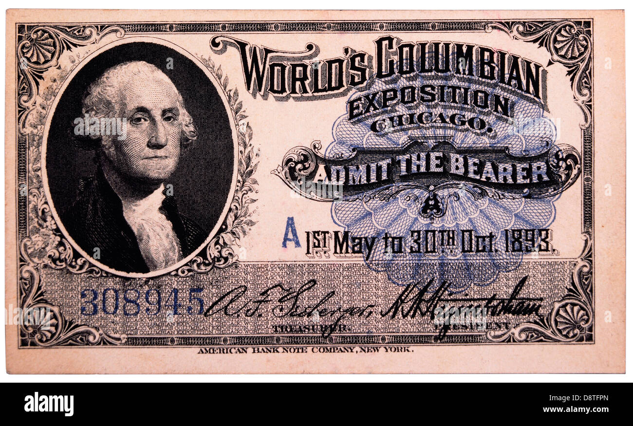 George Washington Engraving, Ticket to World's Columbian Exposition, Chicago, Illinois, 1893 - Stock Image