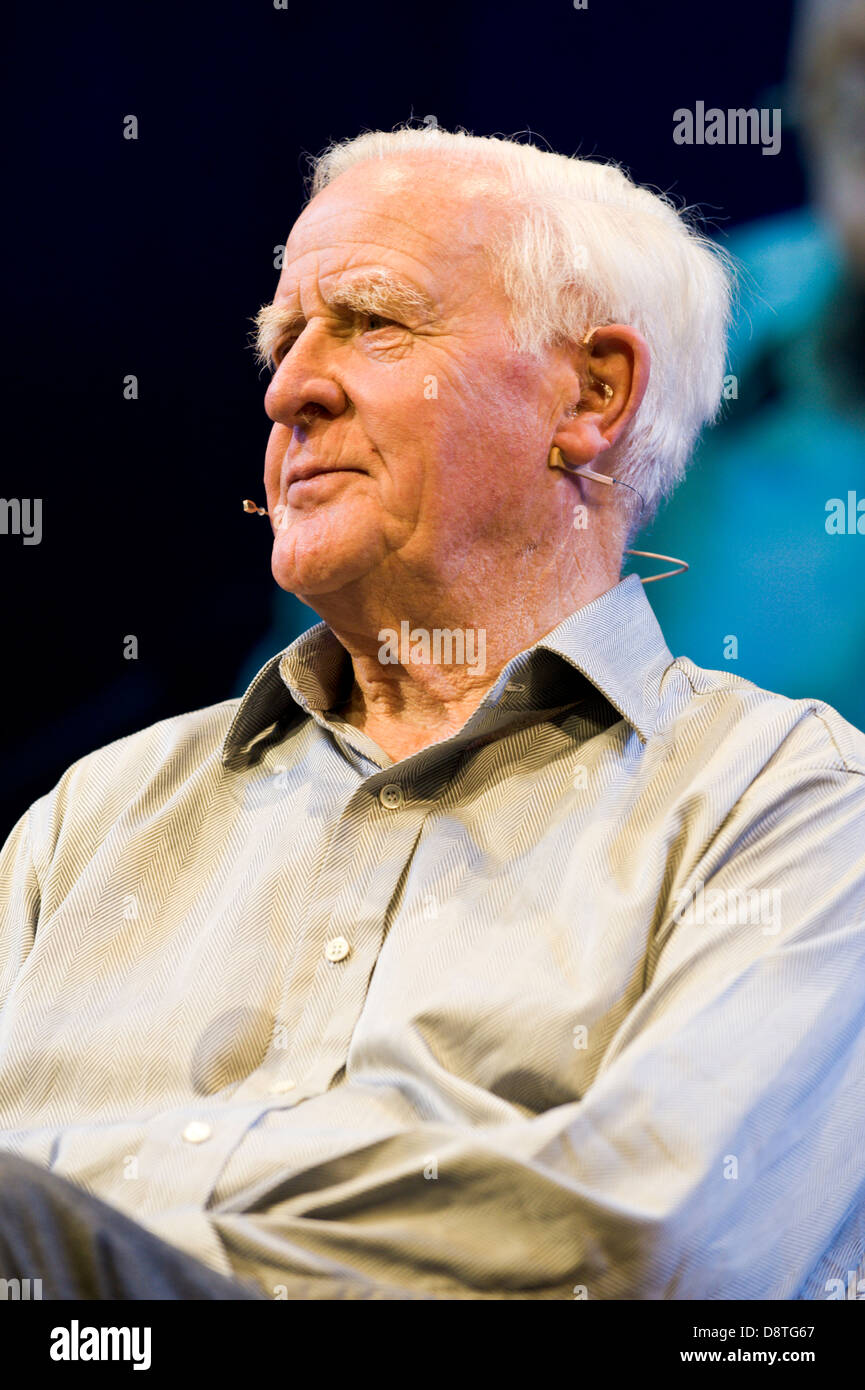 John le Carre author of spy novels talking about his work at Hay Festival 2013 Hay on Wye Powys Wales UK - Stock Image