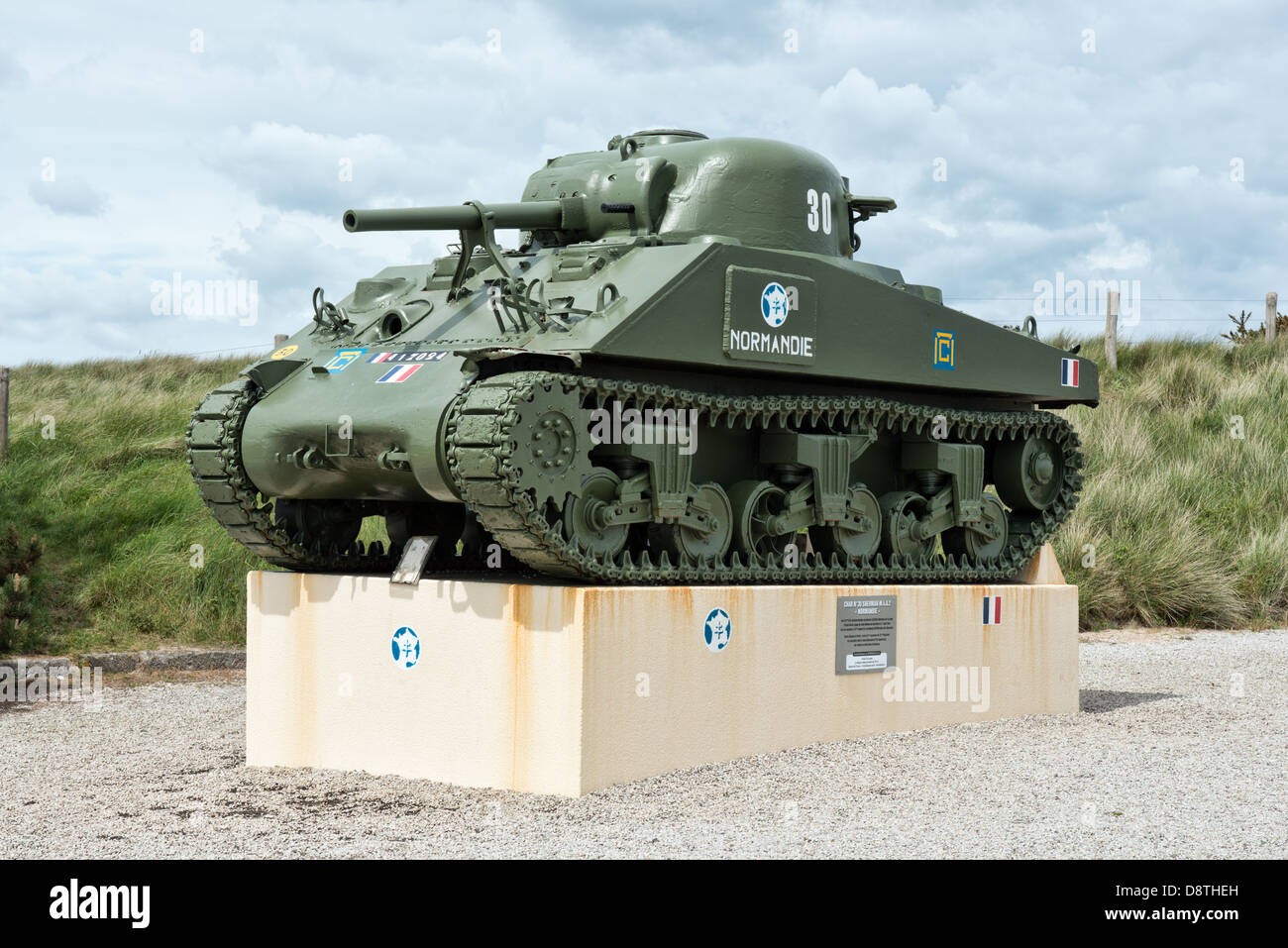 Sherman tank at the Leclerc Monument on Utah Beach at the Varreville Dunes - Stock Image